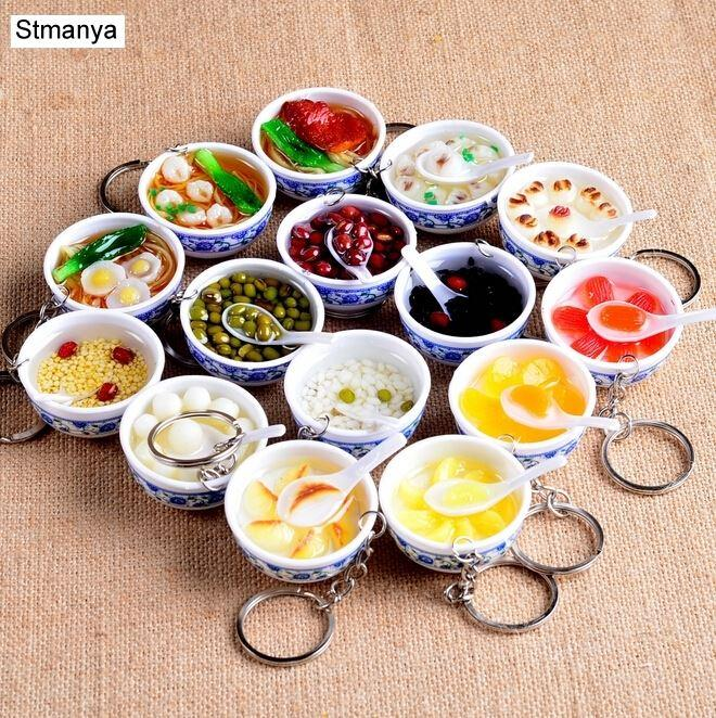 New Simulation Food Key Chains noodle Creative Keychain Chinese Blue and white porcelain Food Bowl Mini bag pendant #17169