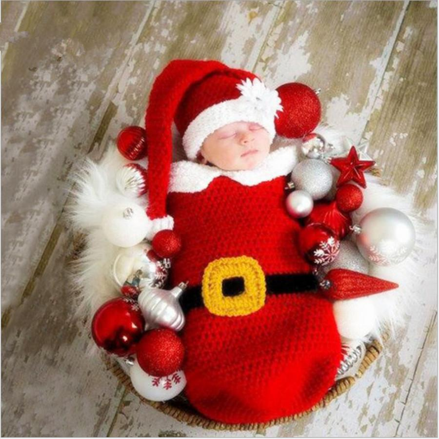 Baby girls christmas props for photography crochet accessories for a photo shoot knitted envelope newborns toddler outfit sleeping bags for kids girls cool