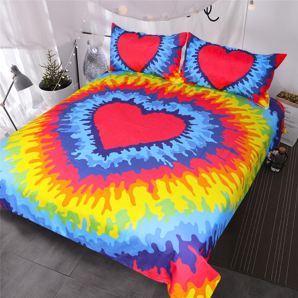 fa6edcaf7f79 Rainbow Tie Dye Bedding Set Red Heart Duvet Cover Set Psychedelic Colorful Bed  Set For Bohemian Hippie Lover Bedroom Linen Sets Cheap Bedspreads And ...