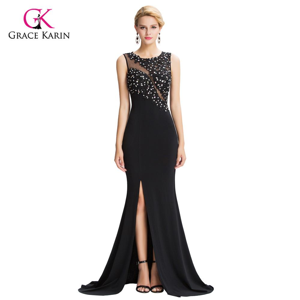 43102fb807 Mermaid Evening Dresses Grace Karin Black See Through Sheer 2018 New  Arrival Sexy Slit Formal Evening Gowns Long Party Dresses Evening Elegant  Dresses ...