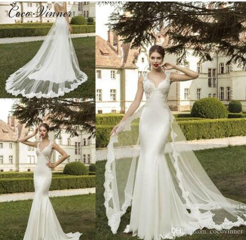 C.V Europe Fashion Detachable Tail V Neck Elegant Mermaid Wedding ...
