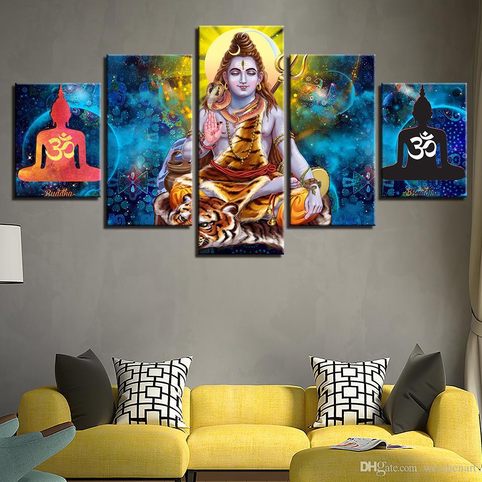 grosshandel leinwand hd gedruckt abstrakte bilder wandkunst 5 stucke hindu lord shiva malerei modular om poster wohnkultur wohnzimmer eingerahmt von