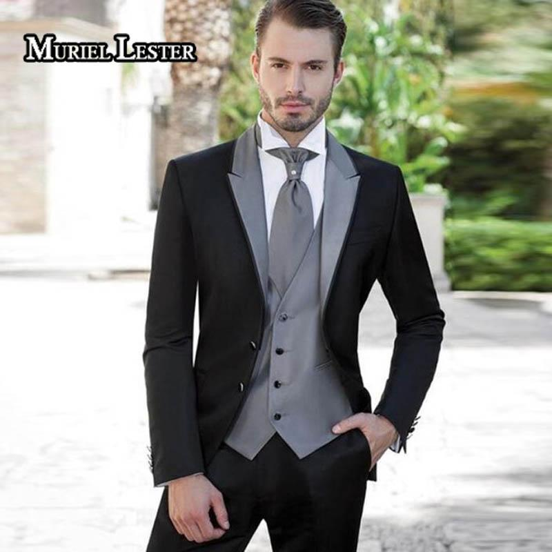 641932d924 Muriel Lester Grey Silver Mens Suits 2018 Wedding Suits for Groom Tuxedos  (Jacket+Pants+Vest) 3 Pieces Groomsmen Man ML328