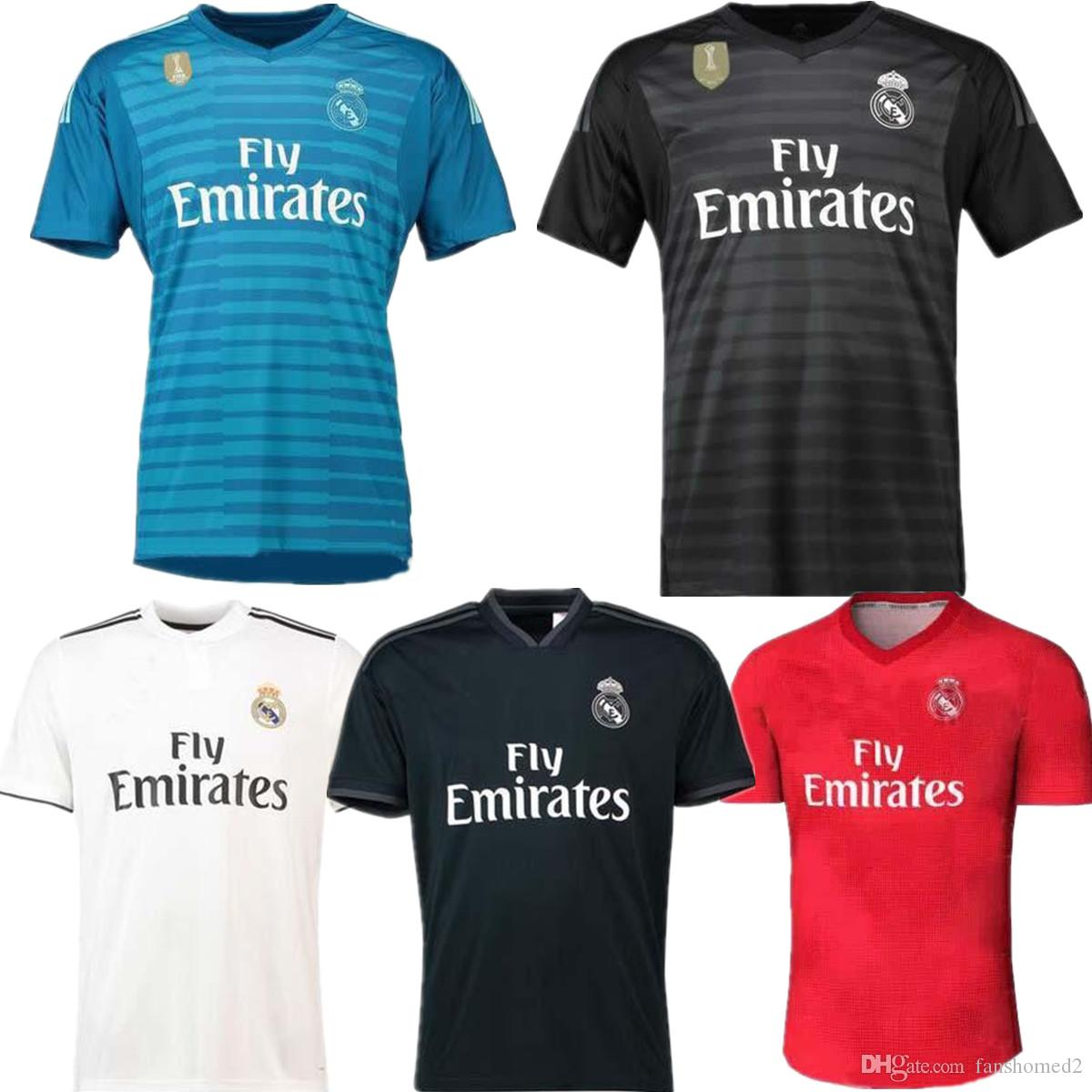2019 2018 2019 Real Madrid  1 25 Courtois Goalkeeper Jersey Away Third Red  Varane Bale Isco Navas Soccer Jerseys Arsensio Modric BENZEMA Camiseta From  ... 51f7c937e
