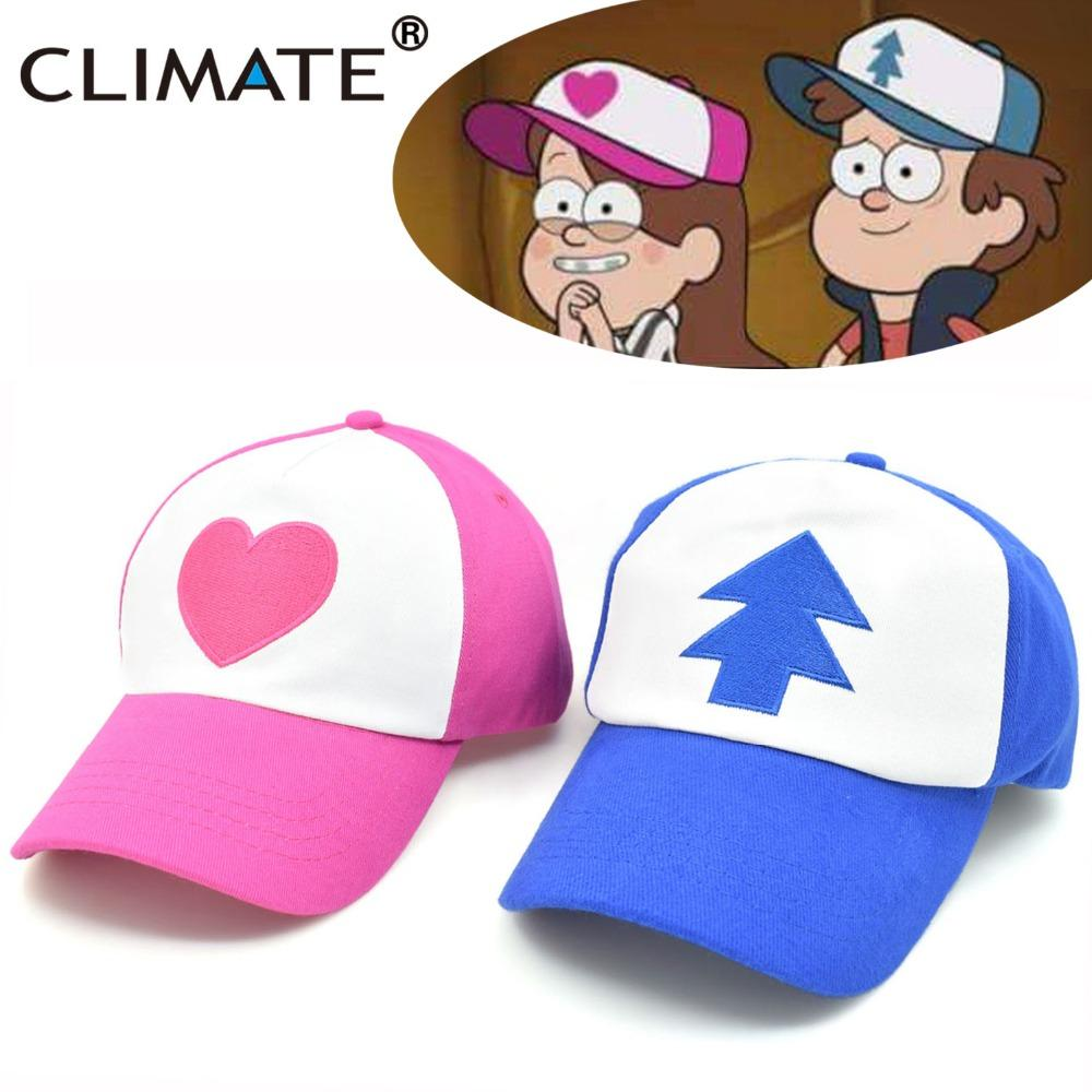 c7c2db694d993 Climate Cool New Spring Summer Gravity Falls U .S Cartoon Mabel Dipper Pines  Cosplay Cool Baseball Mesh Caps Adjustable Sport Hat Flat Caps For Men  Womens ...