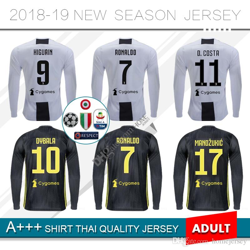 2019 2018 Long Sleeve RONALDO JUVENTUS Soccer Jersey Men 18 19 7  JUVE CR7  9 Higuain 10 Dybala Mandzukic Home Third Football Shirt Uniforms From  Homejersey bed5a7803