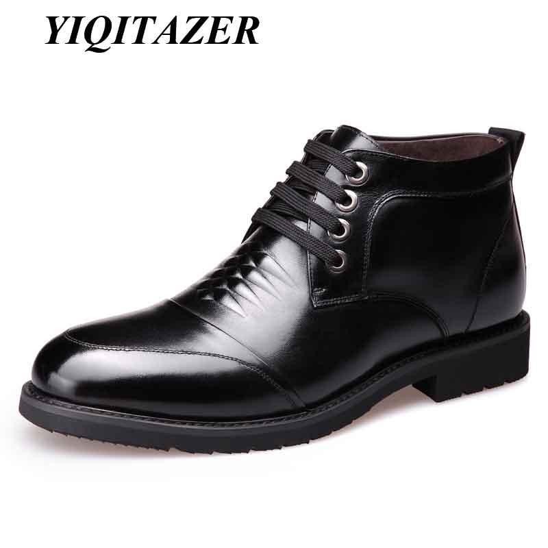 e74f7bcee7 Compre YIQITAZER 2018 Botas De Neve Homem Sapatos De Couro Natureza Lã  Palmilhas