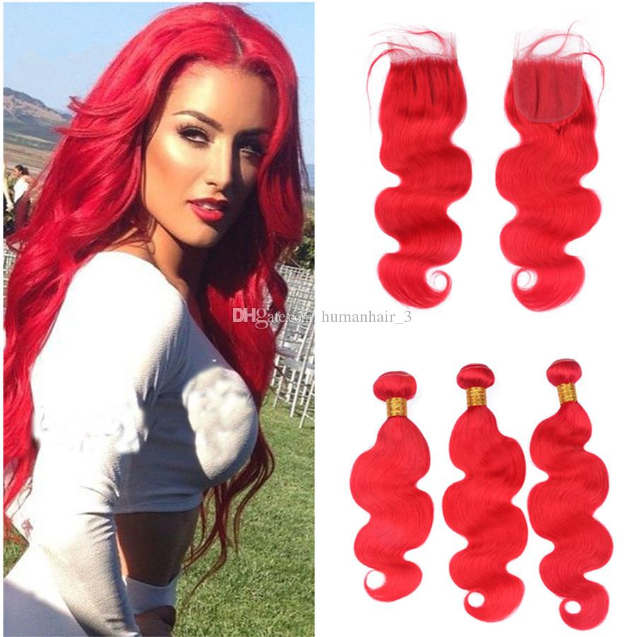 2018 Bright Red Human Hair Weaves With Lace Closure 3 Bundle Deals