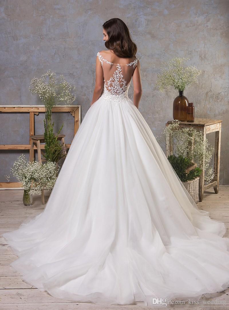 Гламурные A-Line свадебные платья Sexy Sheer шею рукавов свадебное платье свадебное платье пляж Vestidos De Novia с судом поезд