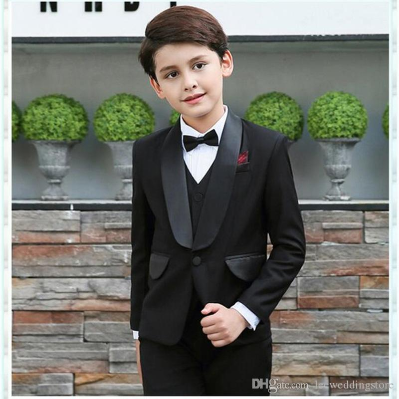 0dc3f3539d77 2018 Kid Clothing Black Wedding Suits Custom Made Flower Boy Dinner Suits  Slim Fit Tuxedos Shawl Lapel Children Suit Ring Formal Handsome Formal  Dress For ...