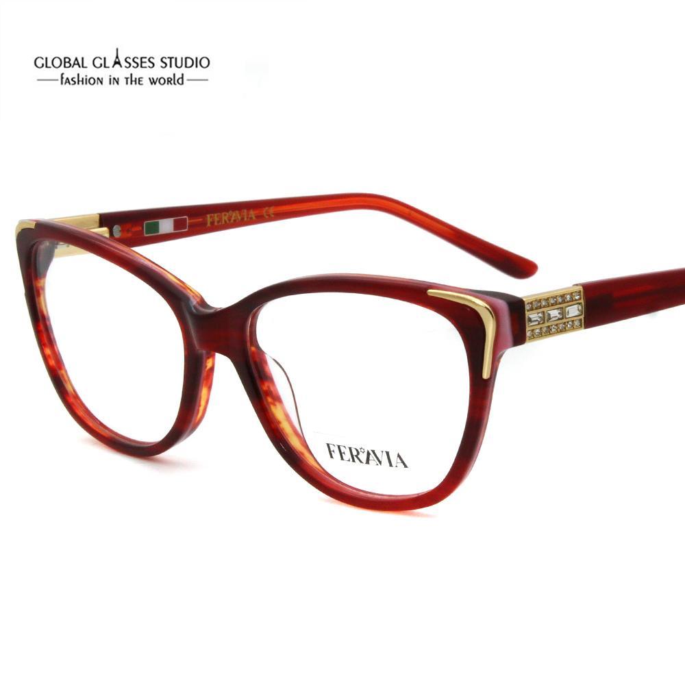 2888d6cb3d Hand Made Acetate Eyeglass Frames Fashion Lady New Designer Eyewear Glasses  With Shiny Rhinestones 601R Eyewear Woman Acetate Online with  20.96 Piece  on ...