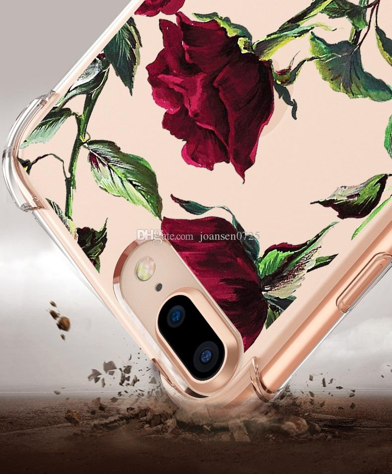 TOP Quality TPU Shockproof Phone Case For iPhone X 6 6S 7 8 Plus Xs Max XrSamsung Galaxy S8 S9 Plus Note 8 Flower Painted Silicone Cover