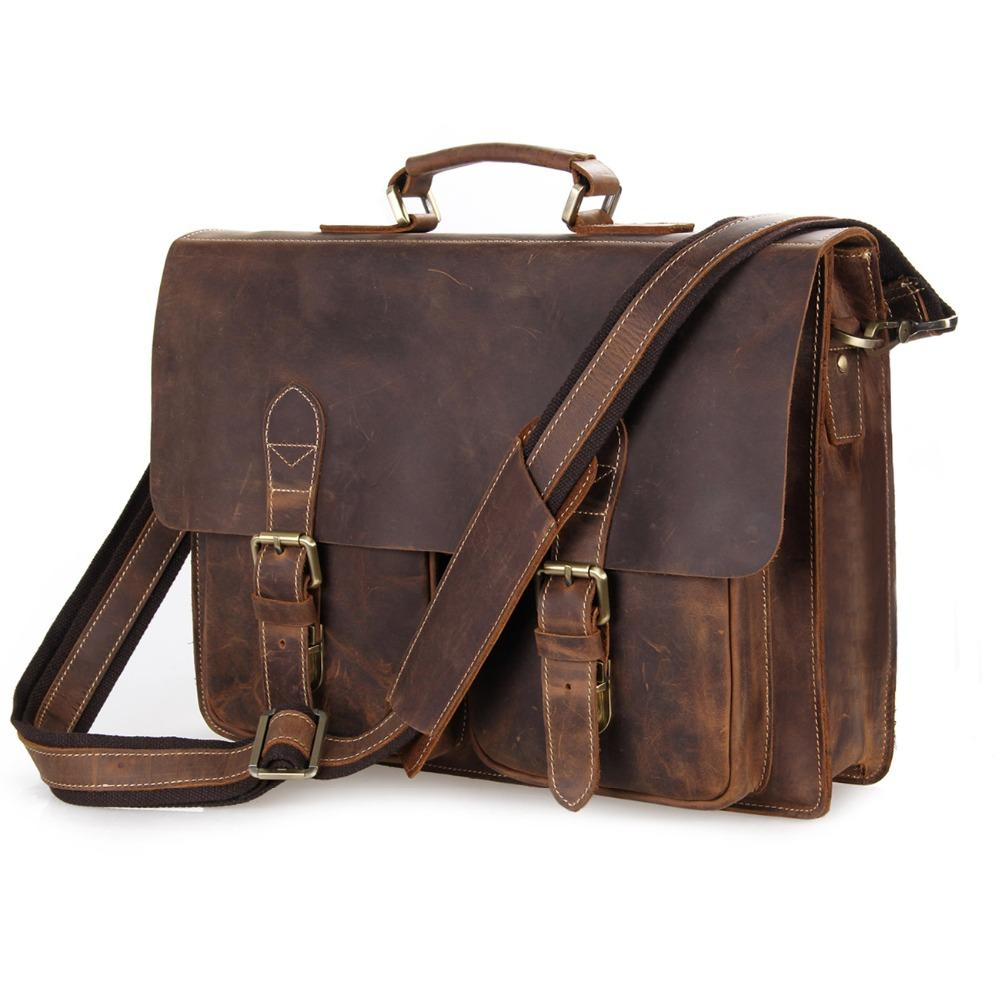 52d2a3fefbd89 J.M.D Vintage Crazy Horse Leather Laptop Bag For Man Briefcases ...