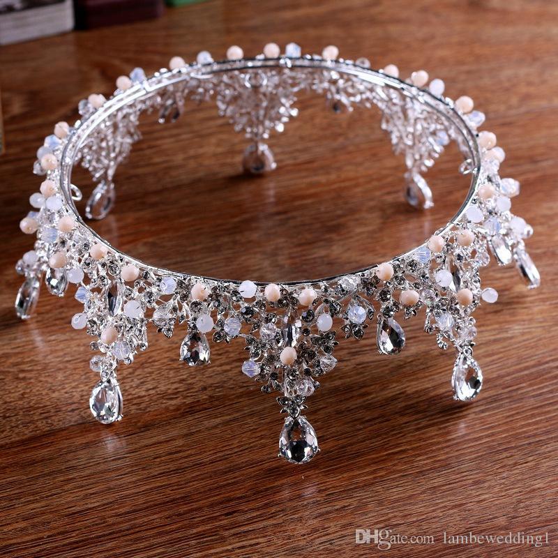 2018 alta calidad plata tiaras cristales en claro Rhinestone racimos exuberantes con bolas hecho a mano tocados de la boda corona nupcial accesorios
