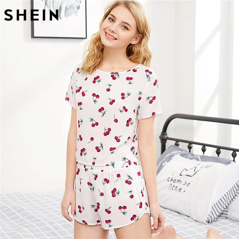 2019 SHEIN Cherry Print Cartoon Top And Shorts Pajama Set Women Casual  Round Neck Short Sleeve Pajamas Sets 2018 Cute Nightwear From Berniee fa51fba1e