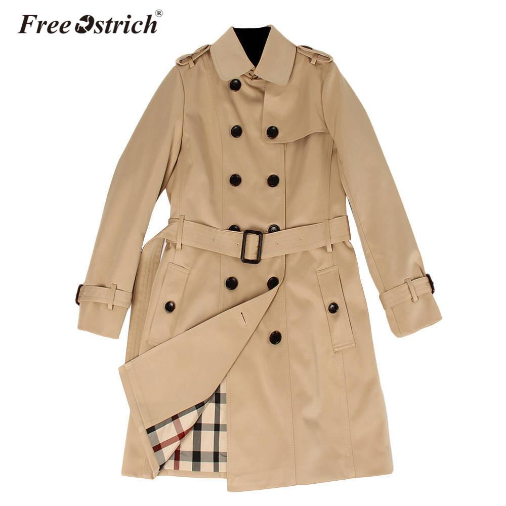 Free Ostrich Raincoat Waterproof 2018 Autumn New High Fashion Brand Woman Double Breasted Trench Coat Business Outerwear