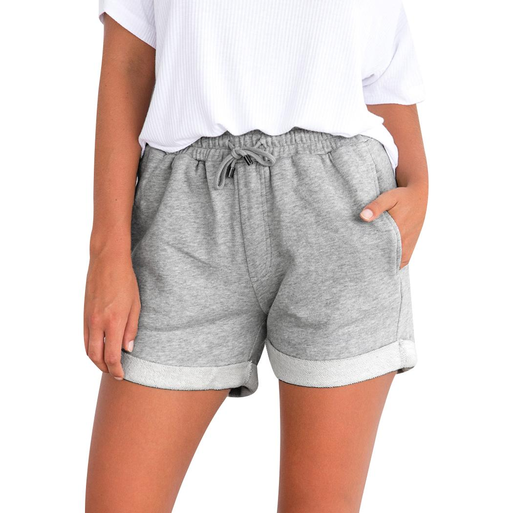2019 2018 Hot Womens Shorts Gray Holiday Lace Up High Waist Pocket Ladies  Home Short Summer Beach Causal Cotton Sexy Fitness Shorts From Pingpo 411e4530f