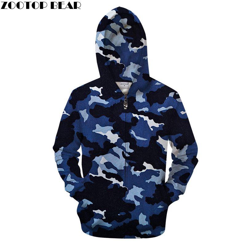a0f5bf07a255d Navy Camo 3D Zip Hoodies Men Sweatshirt Casual Tracksuit Zipper Hoody Groot  Coat Pullover Jacket Streatwear Drop ship ZOOTOPBEAR