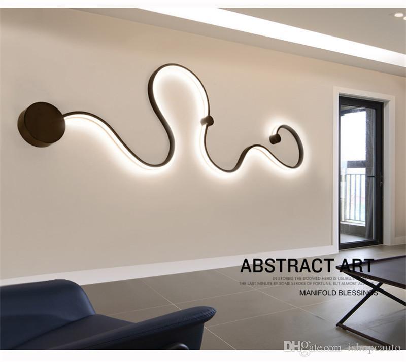 Yaratıcı duvar lambası siyah eğri / oda koridor geçit başucu duvar ışıkları yaşayan beyaz, destek maddesi damla nakliye