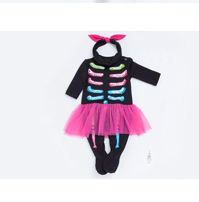 1a6a3c49684c Baby Halloween Skull Clothes Autumn Infant Girls Boys Black Party ...