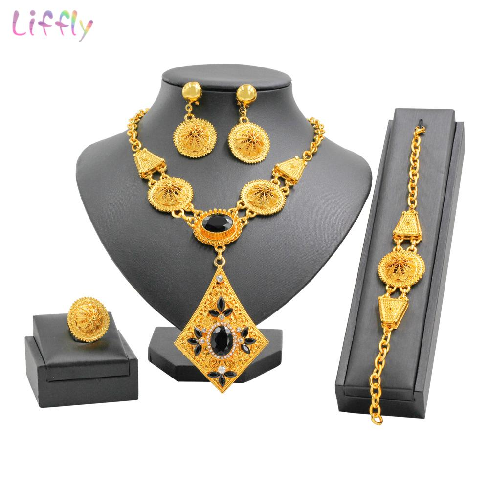 e6a9375df68 2019 Hot Sale Fashion Dubai Gold Jewelry Set New Year Beautiful Black  Crystal Necklace Bracelet For Women Charm Bridal Earrings Gifts From  Naughtie