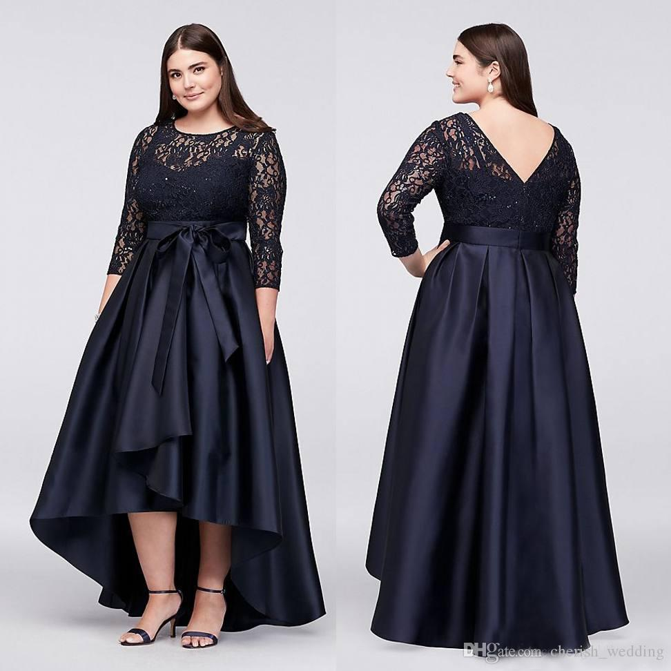 Plus Size High Low Prom Dresses With Long Sleeves With Bow V Back Sheer  Jewel Neck Lace Evening Gowns A-Line Cheap Short Party Dress