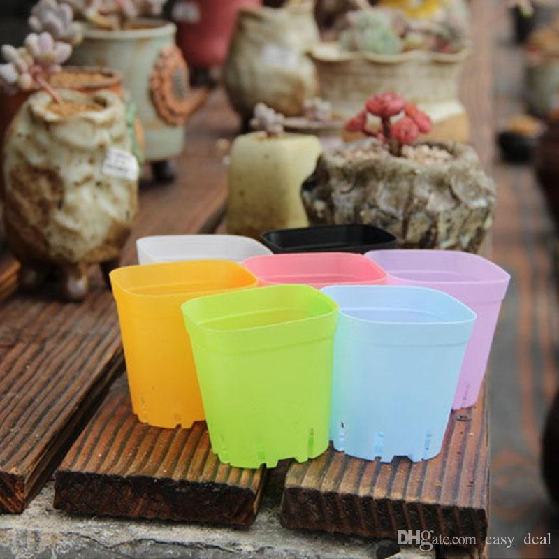 Fioriera in plastica Mini Multicolore Quadrato Base di piante grasse Base usi speciali Il fondo è più traspirante ZA5842