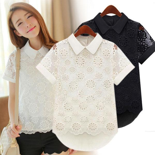 3e171c0be8385 2019 Peter Pan Collar Women Hollow Out Lace Short Sleeve Blouse Shirt Tops  Casual Summer Black White Lace Blouses Clothes From Jilihua