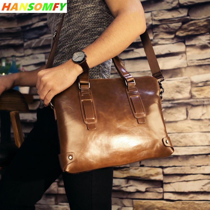 a2c68f3d1e7d 100% Genuine Leather Men Business Official Handbag Cross-section ...