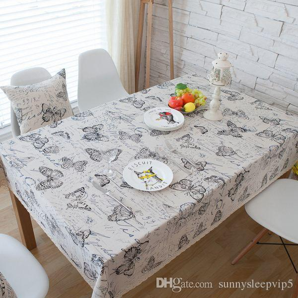 Butterfly Cotton Linen Table Cloth America Country Style Rectangle Coffee Table Cover with Lace Edge manteles para mesa ZB-64