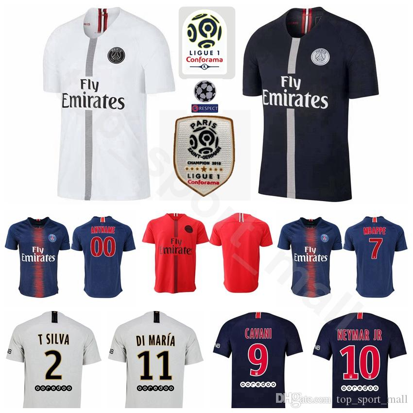363d9c1b73e 2019 18 19 FC AJ Paris Saint Germain Jersey PSG Soccer 7 MBAPPE 9 CAVANI 6  VERRATTI 11 DI MARIA SILVA Football Shirt Kits From Top_sport_mall, ...