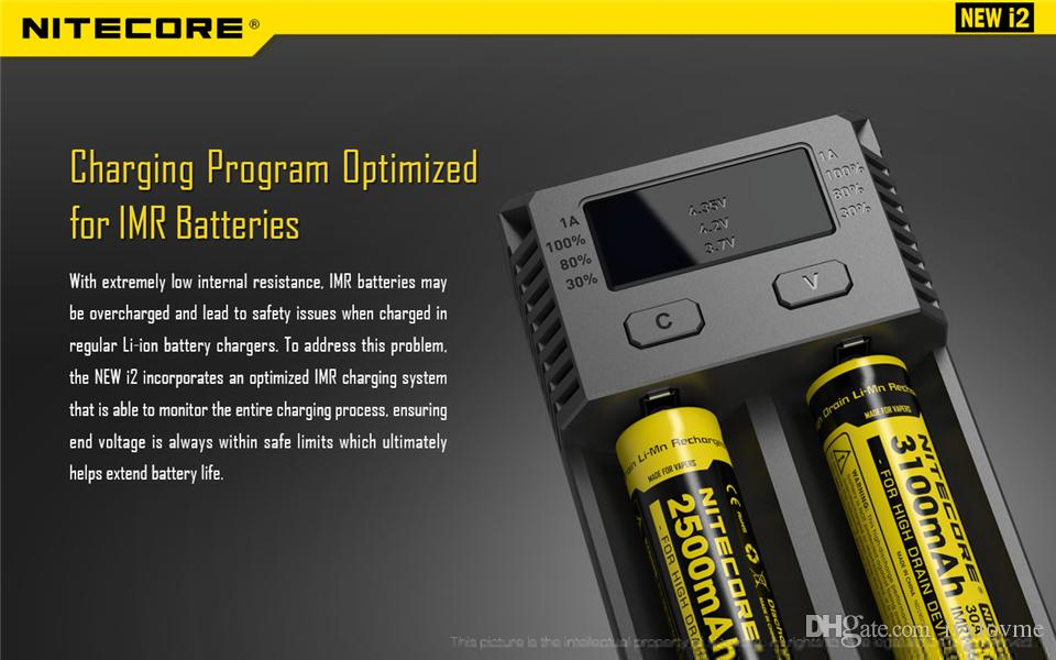 Nitecore original new i2 digicharger display lcd carregador de bateria universal nitecore i2 carregador vs nitecore i4 navio livre