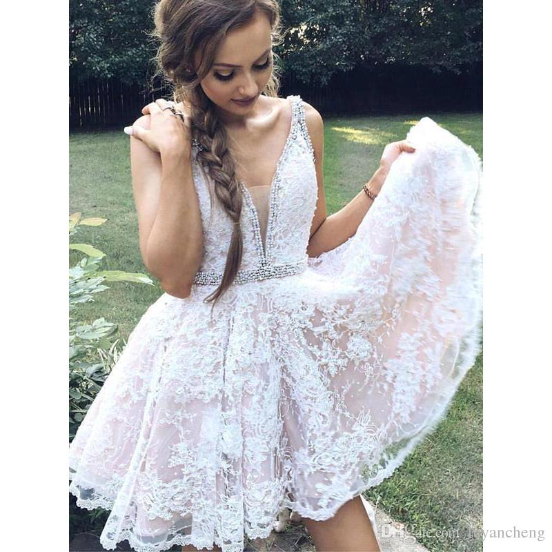 a9b82c8557a 2018 V Neck Lace A Line Homecoming Dresses Beaded Pearls Knee Length ...