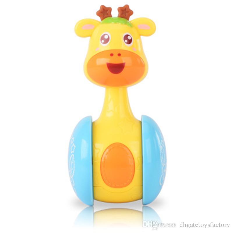 Funny Cartoon Tumbler Toys For New Baby Plastics Cute Intelligence Giraffe Shaped Animal Sliding Rattle Bell Education Toys