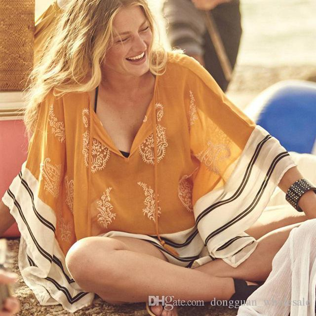 5731872f34 2019 Sexy Chiffon Swimsuit Cover Up Beachwear Loose V Neck Bathing Suit  Cover Ups 2018 Summer Bikini Cover Up Beach Tunic Pareo From  Dongguan_wholesale, ...