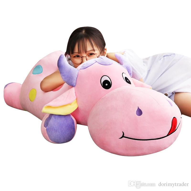 2019 Lovely Cartoon Cattle Plush Toy Cute Large Cow Stuffed Doll