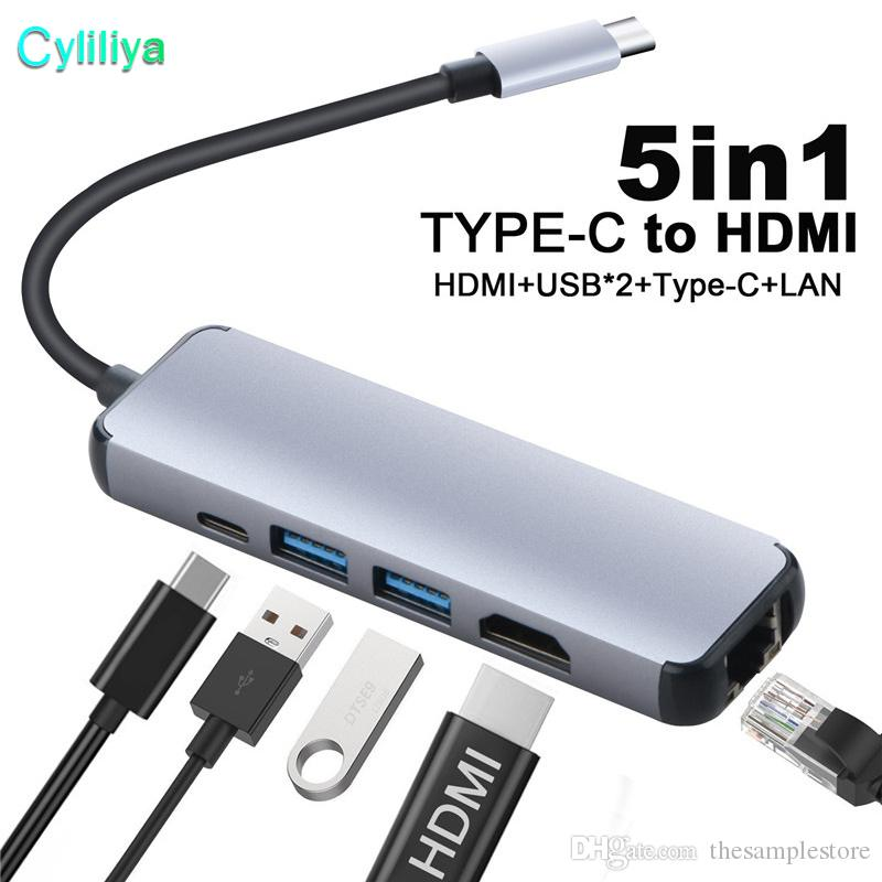 5 in 1 USB Type C Hub Hdmi 4K USB C Hub to Gigabit Ethernet Rj45 Lan Adapter for Macbook Pro Thunderbolt 3 USB-C Charger Port