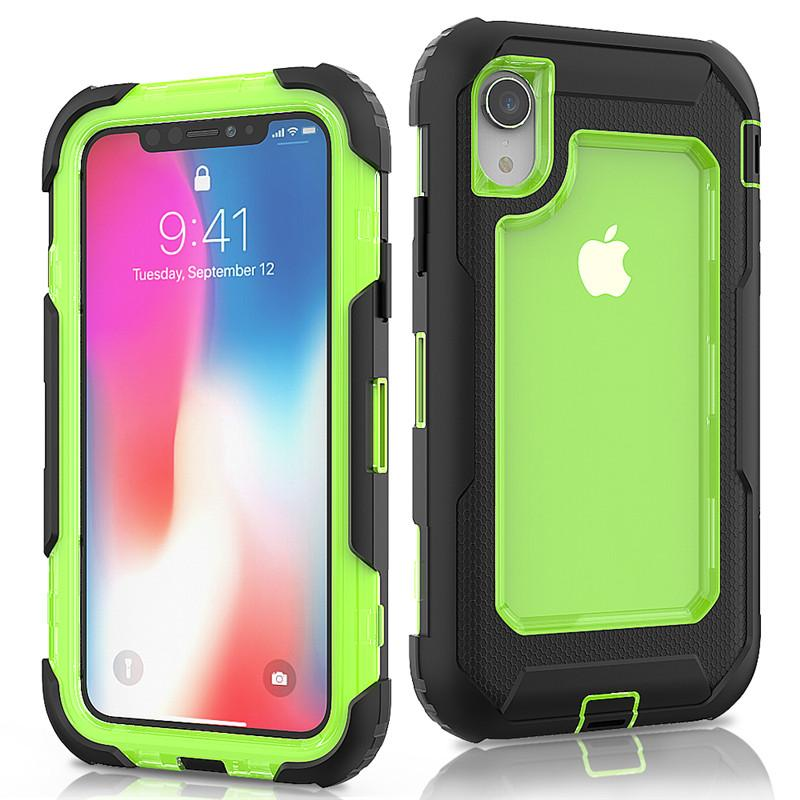 quality design 85a6e a7a14 For Iphone Xr Defender Case 3in1 Clear High Impact Heavy Duty Hard Rugged  Rubber Case Cover with Clip for iphone XR XS Max