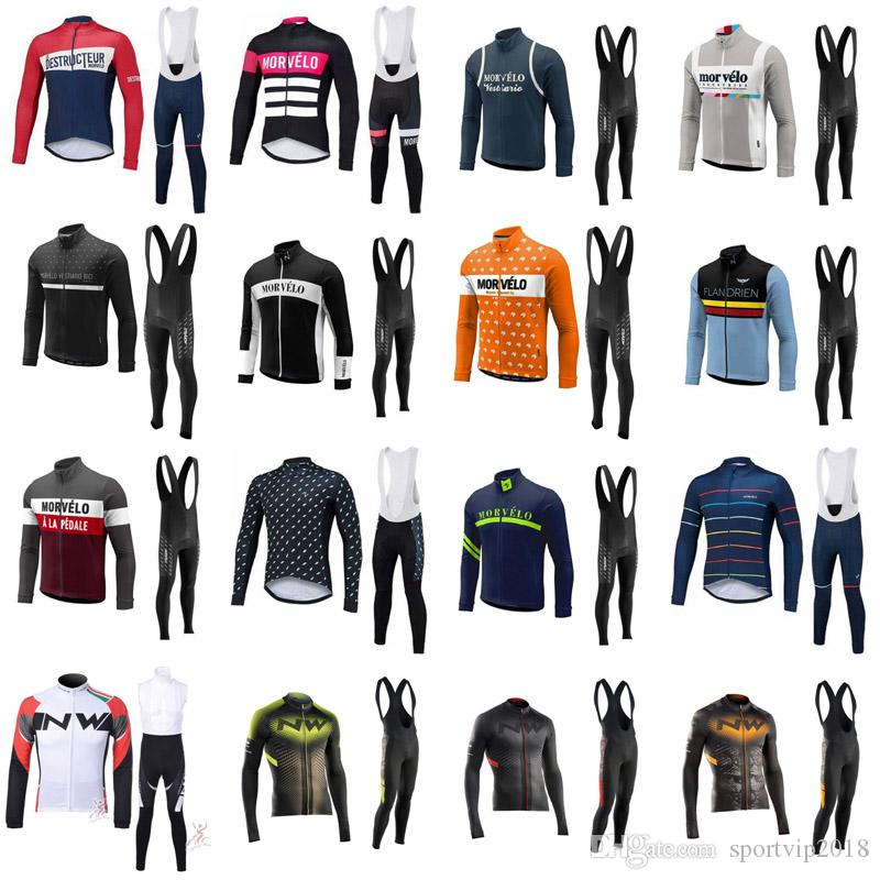 2018 New Morvelo Breathable Long Sleeve Men Spring/Autumn Team Cycling Jersey Bike Bib Long Pants Set Ropa Maillot Ciclismo 4274