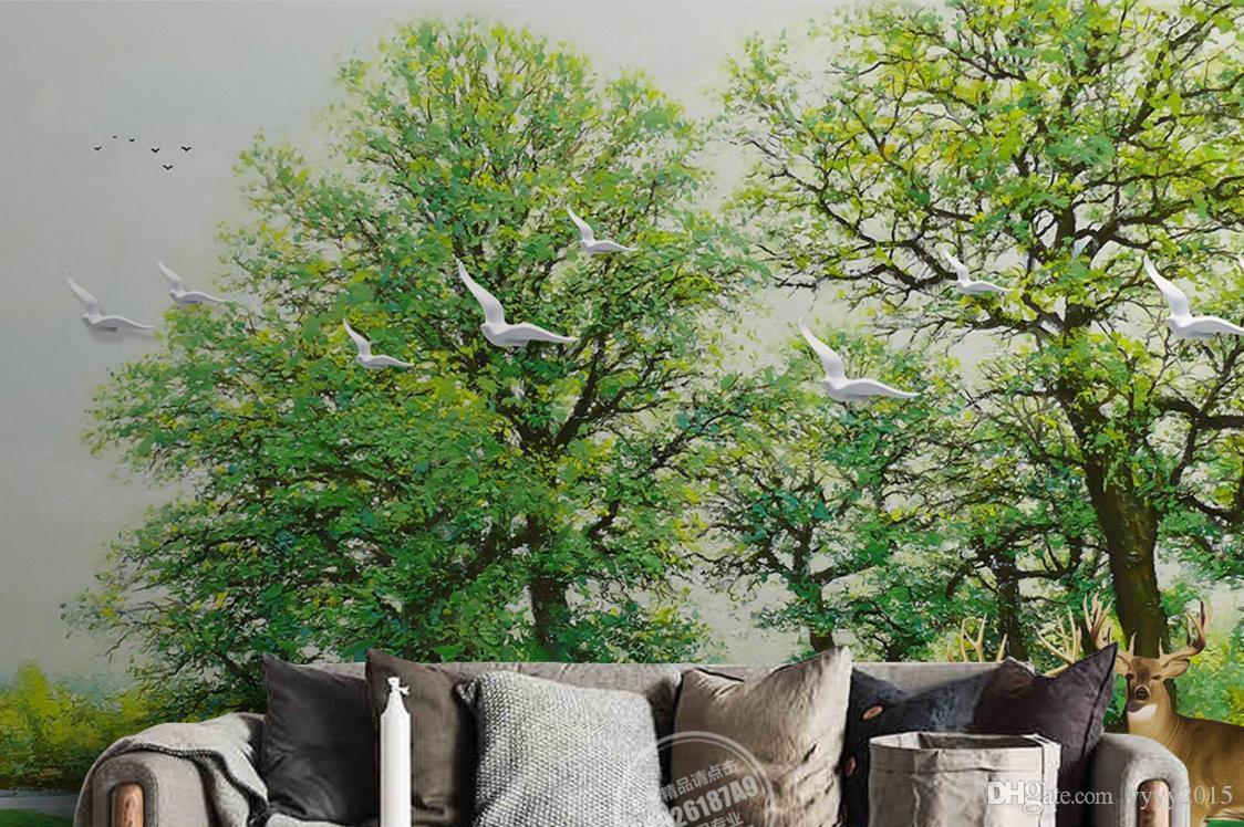wallpaper birds flowers 3D green forest elk bird background wall painting beautiful scenery wallpapers