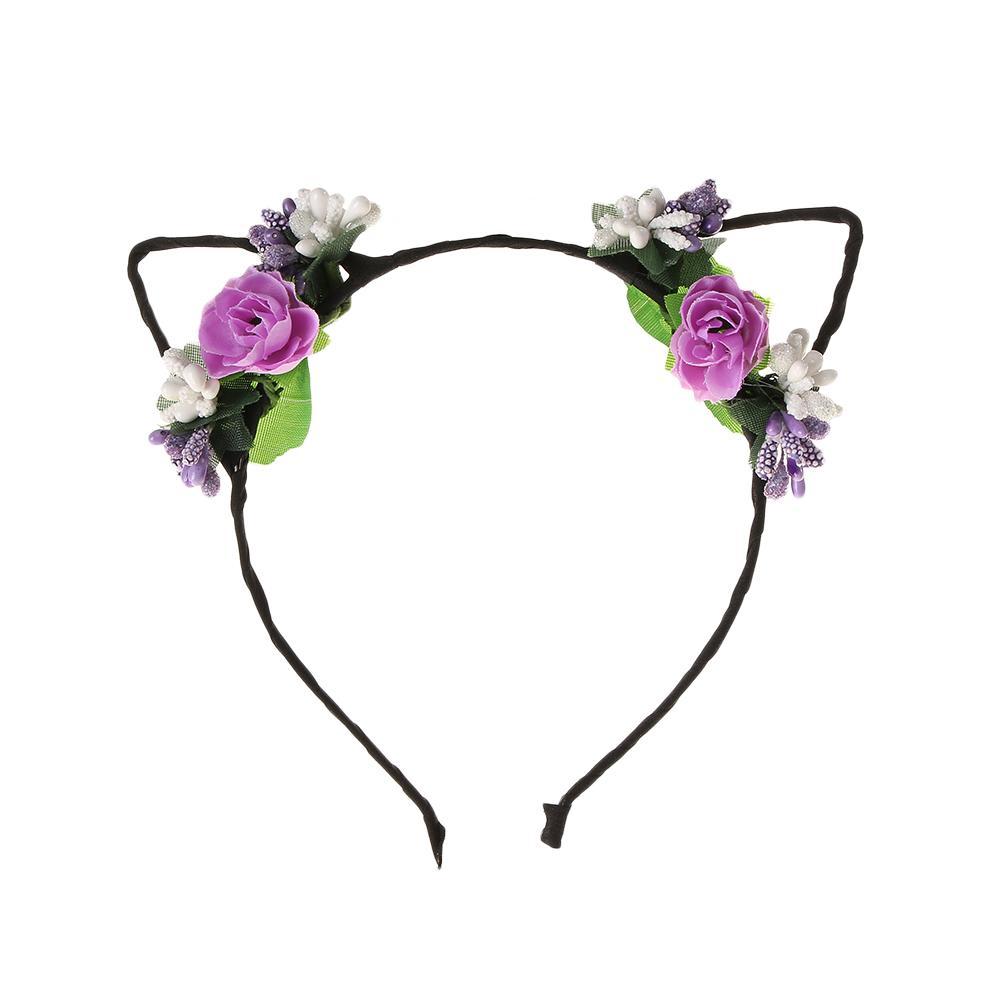 sirenxi popular baby flower rabbit ear headband hair bands for girls cute  demon cats ear hair hoop head headwear xmas headdress