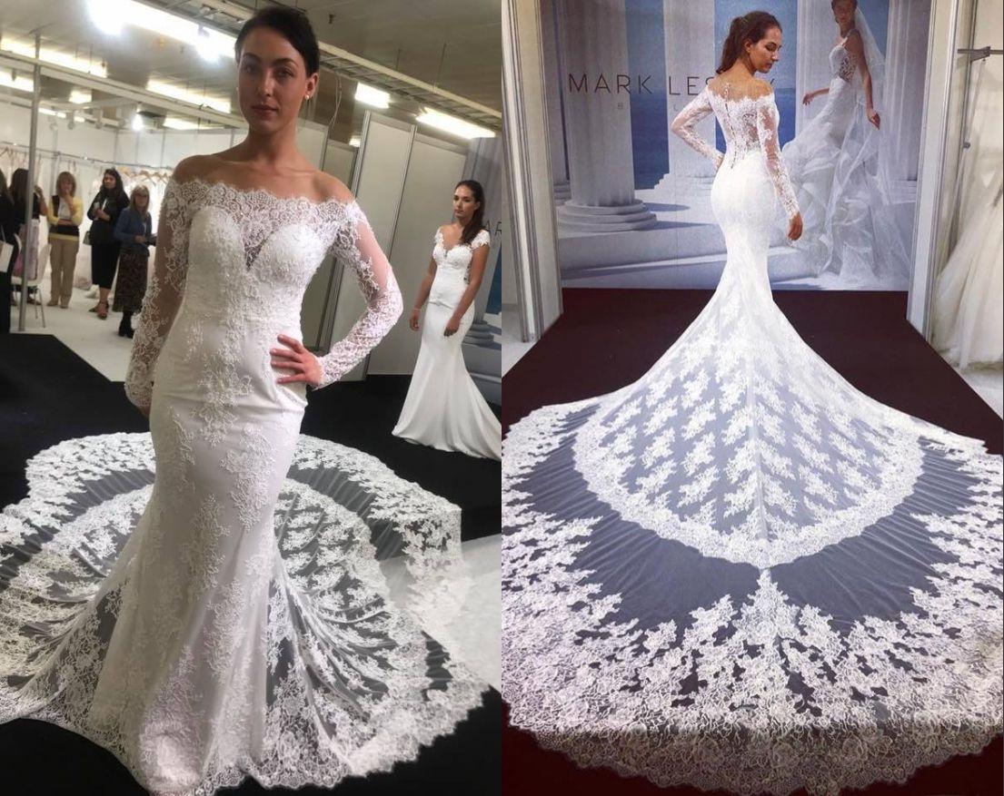 Chapel Wedding Dresses 2019 Long Sleeves Mermaid Cathedral Train Vestido De  Noiva Custom Lace Robe De Mariage Real Model Pictures Mermaid Wedding Dress  Lace ... 81d0cad8887b