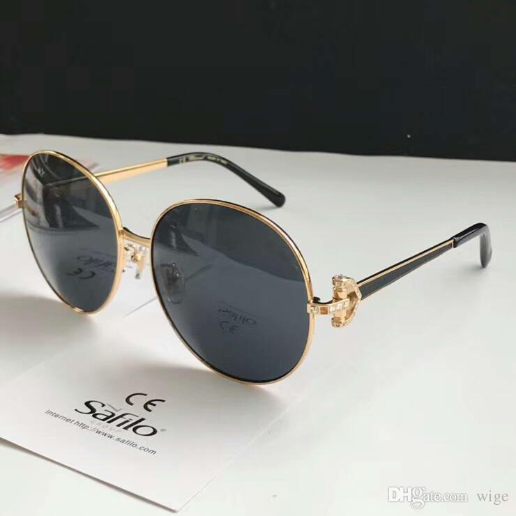 Designer 18SS Stones Gold Round Sunglasses glold/brown Gafas de sol womens Luxury Designer Sunglasses Glasses Shades New with box