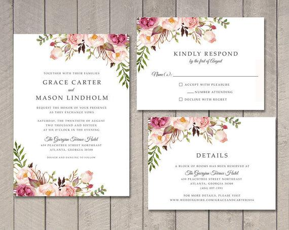 Floral Wedding Invitation Rsvp Details Card Wedding Card Wedding