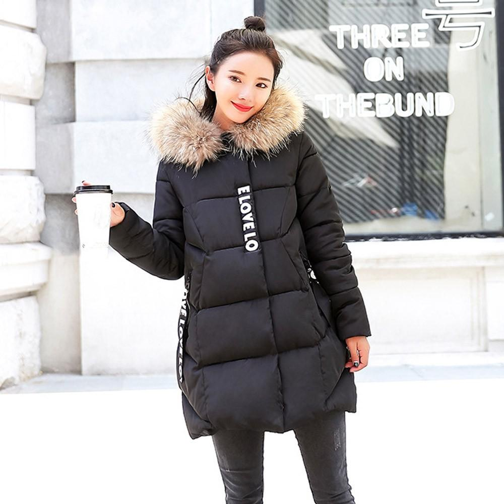 2018 Women Winter Coat Warm Hooded Long Coat Thick Fur Collar Cotton Parka Slim Jacket for Ladies Down Outwear