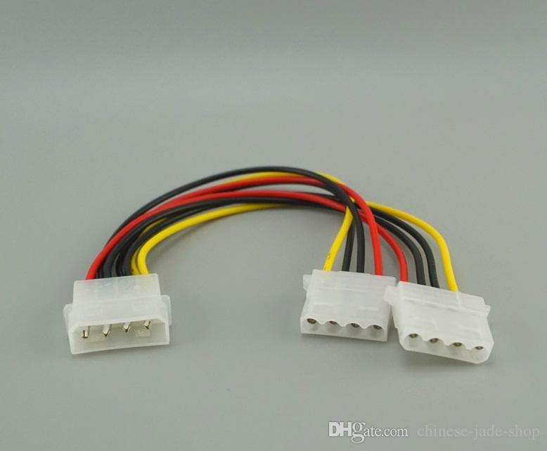 20 cm 4 Pin Molex Erkek 2 limanlar Molex IDE Kadın Güç Kaynağı Y Splitter Adaptör Kablosu PC için, soğutma fanı, CD Sürücü Sabit Disk 100 adet / grup