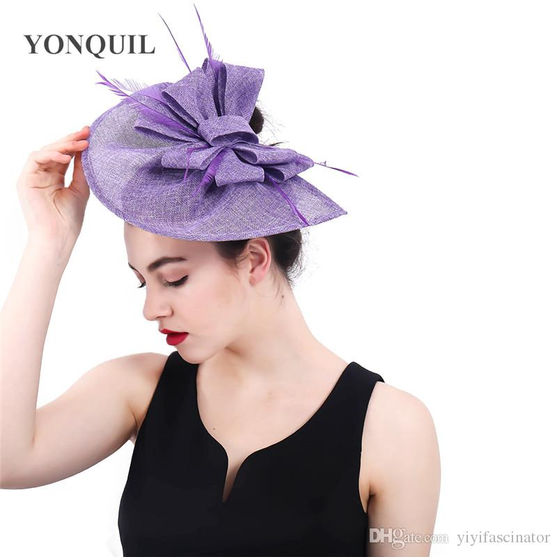 e3a49cf4f4b Lavender Fascinator Wedding Hats Kentucky Church Hats Loops Fascinators  Elegant Ladies Feather Hair Accessories With Hair Clips SYF369 Vintage  Womens Hats ...