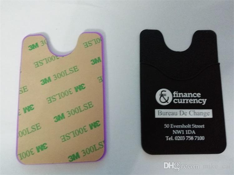 OEM logo Universal 3m sticker Circular Arc style credit card holder Cheap Adhesive 3M Sticker Silicone Cell Phone Credit Card Holder