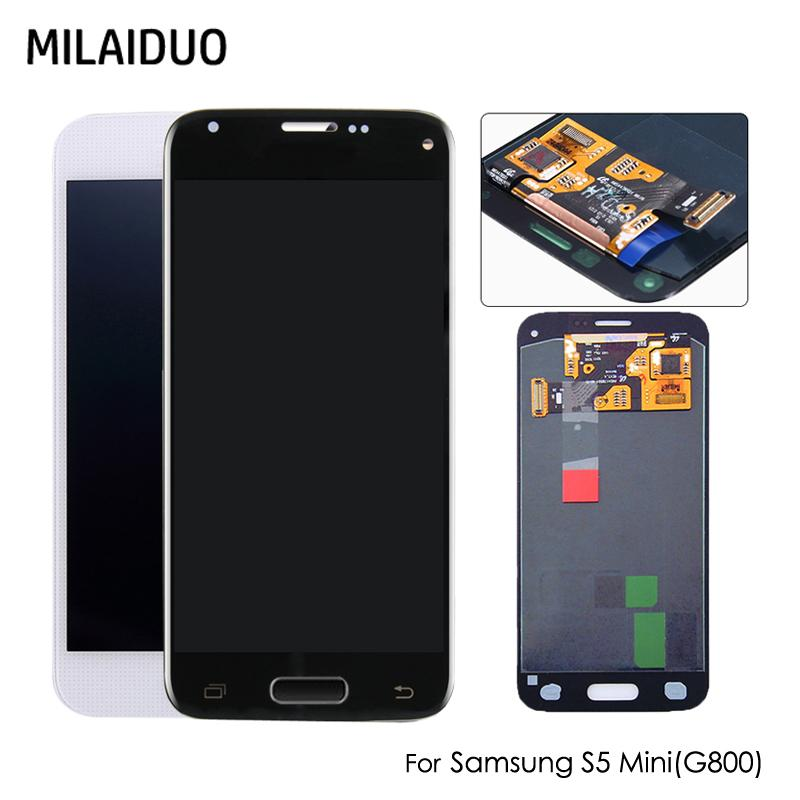 Super AMOLED For Samsung Galaxy S5 Mini G800 G800F G800H OLED LCD Display +  Touch Screen Digitizer Assembly - White Black