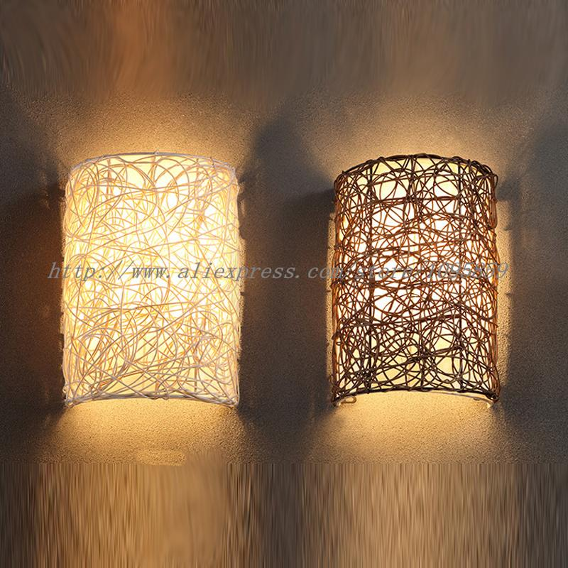 2018 Modern Handmade Rattan Wall Sconces Lamp Brown/White Color ...